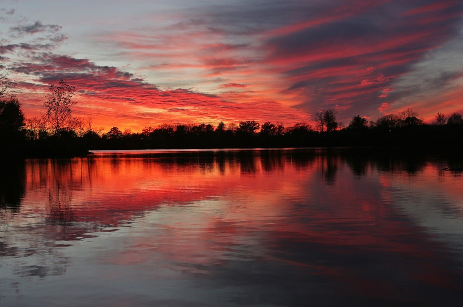 Sunset at Simpson Lake in Valley Park, Mo.