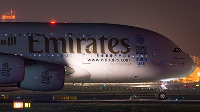Emirates A380 during nighttime