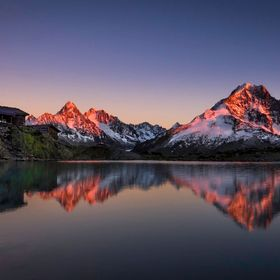 Photo taken at Lac Blanc (the White Lake),in the french Alps, at sunset. You can see the beautiful reflection of the Aiguille Verte peak.