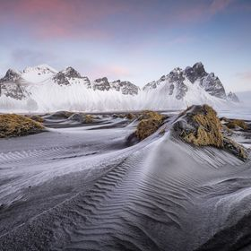 Vestrahorn mountains before sunrise in winter.