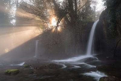 Light explosion at the Monte Gelato Waterfalls