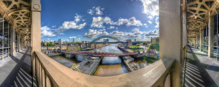 A quirky 180 degree view taken from the Lower Deck of the High level Bridge across the River Tyne...