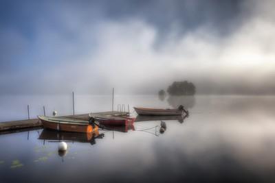 Foggy morning at the lake Grycken, Stjärnsund, Sweden
