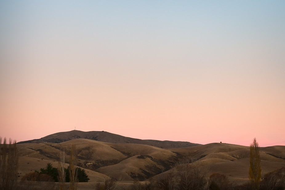 Taken looking towards the hills from just outside of Cheviot town in New Zealand as the sun had s...