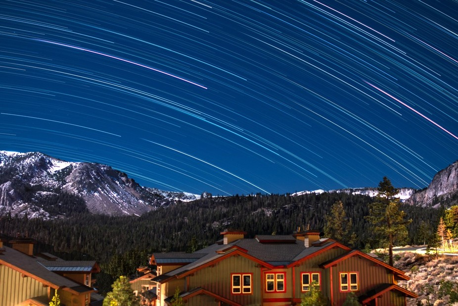 On the eve before the super moon, star trails lit up  Mammoth Mountain on this very bright evenin...