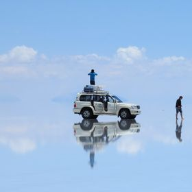 "This photo was taken on the Salt Flats (Salar de Uyuni), in Bolivia. In February, the salt desert is covered by 2-3"" inches of water which g..."