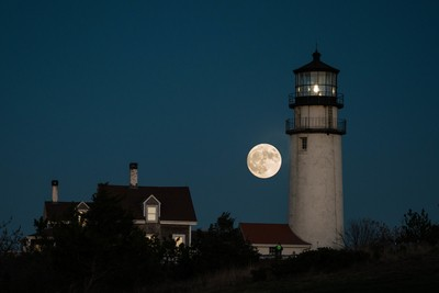 Supermoon at Highland Light