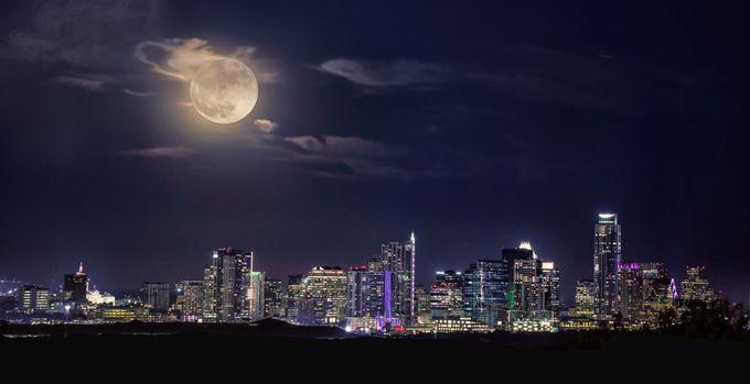 super moon over Austin  by kelleyhurwitzahr - City Views Photo Contest
