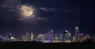 super moon over Austin