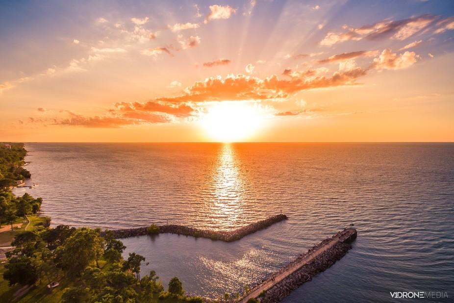 Lake Erie Pier Sunset
