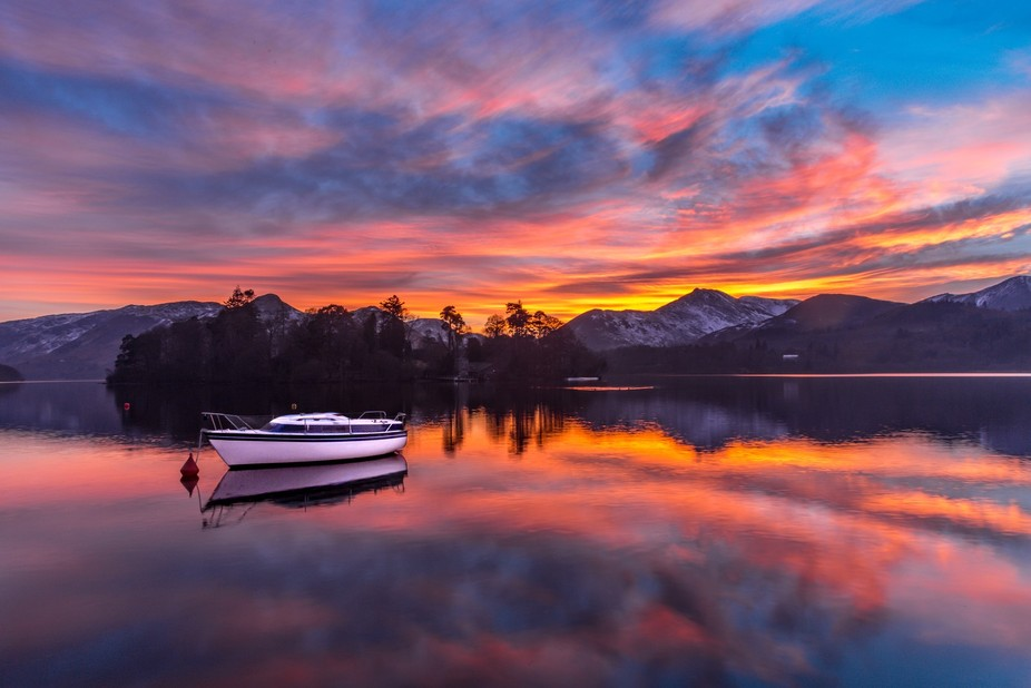 Derwent Water in the English Lake District.  Possibly the best sunset i've seen in a lon...