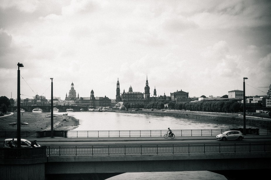 Taking the train into Dresden, going over the Elbe River.