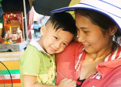 Vietnamese boy and mother