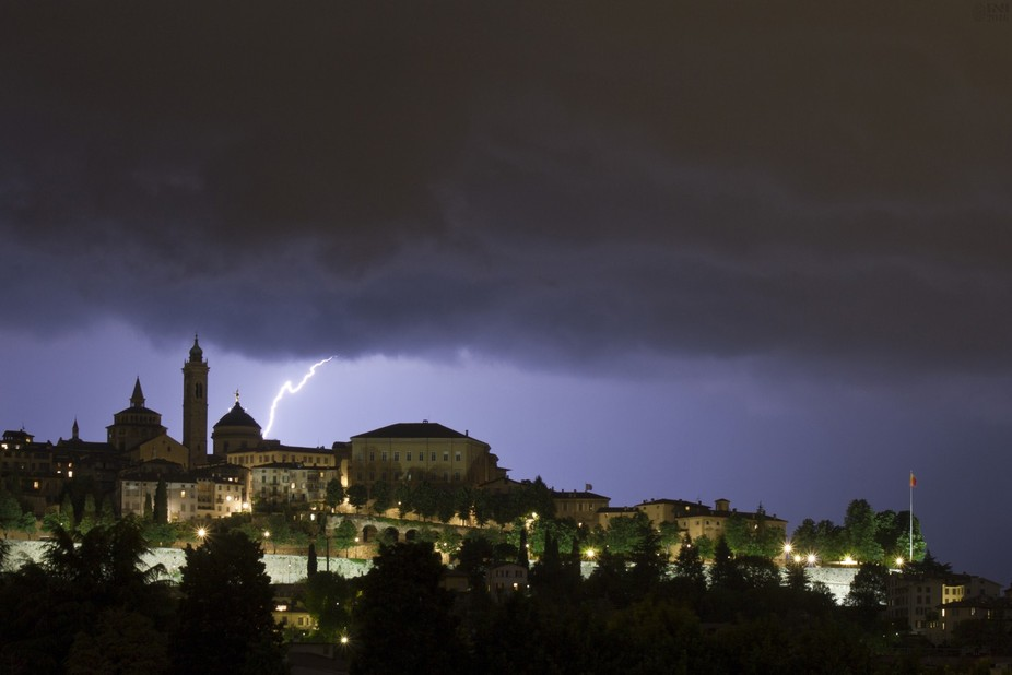 This photo was taken the 14 of July during a storm.  The skyline is Ancient Bergamo city also kno...