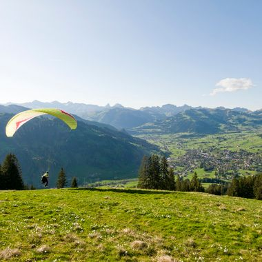 A friend taking off to a nice evening-Flight from the middle station at Wispile Mountain above Gstaad, Bernese Oberland, Switzerland