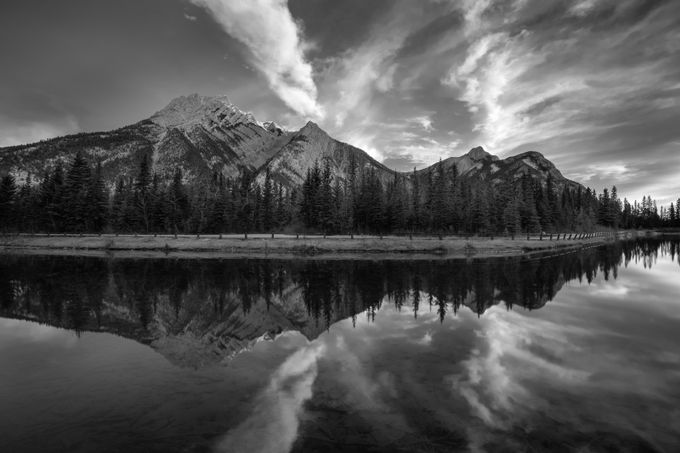 Mt Lorette Ponds by mgenkova - Landscapes In Black And White Photo Contest