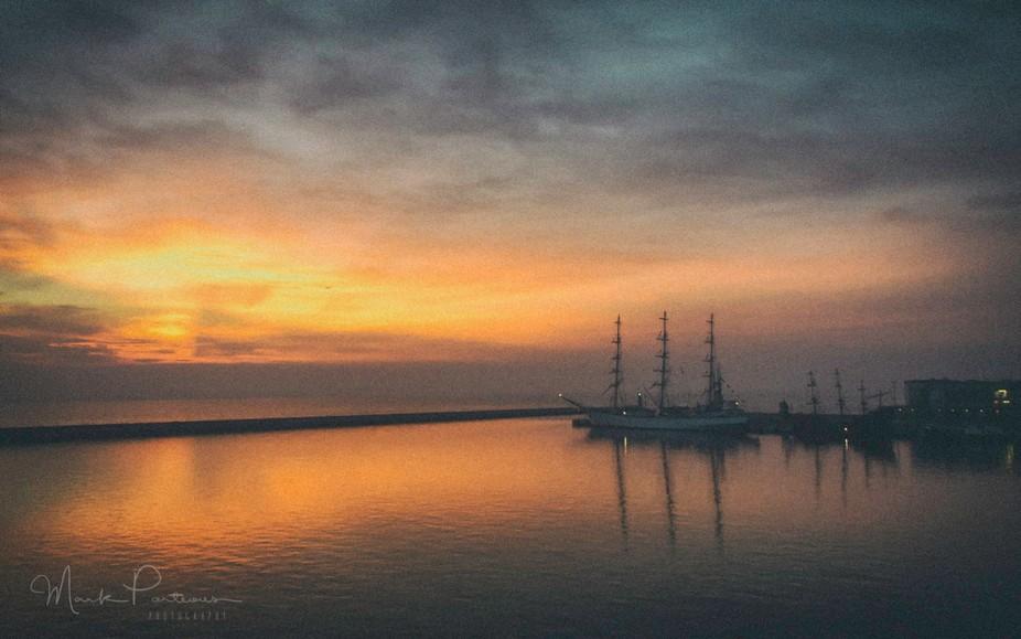 The sailing ship Dar Mlodziezy in Gdynia harbour.