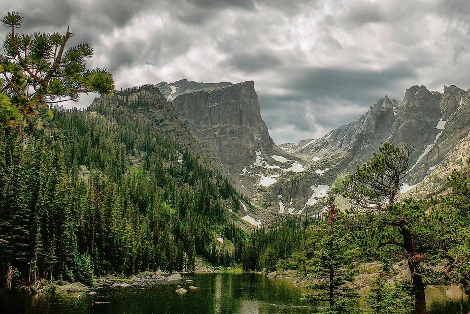 Beautiful spot near Rocky Mountain National Park.  The water really was a beautiful emerald green...