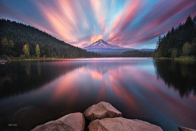 Mt Hood sunset from Trillium Lake.