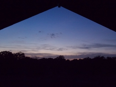 Viewing sunset from the top floor of the barn