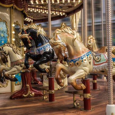 A Carousel in the street at Cardiff..