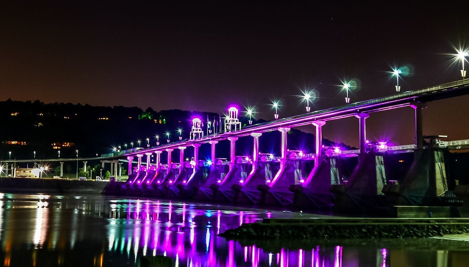 This is the Big Dam Bridge at the Arkansas River in Little Rock.  It is a walking bridge and ligh...