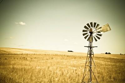 Windmill in a dry summer paddock, Barrabool Hills, Australia