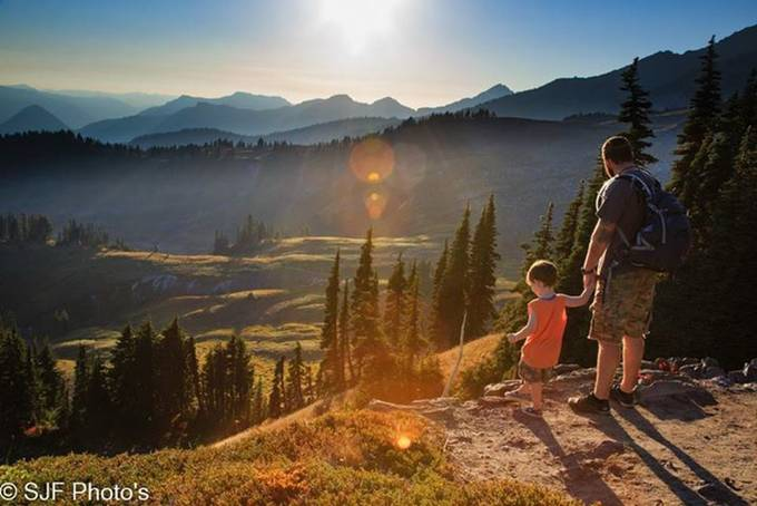 This is an image of my Son showing my Grandson the view of the meadow near Mt Rainer