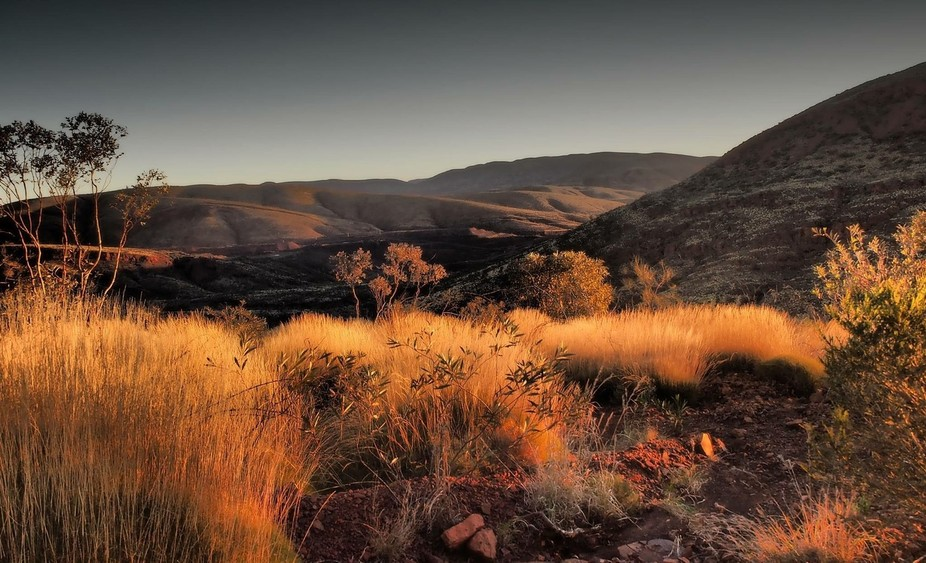 Dusk on a rocky 4wd trip up Mount Nameless in Tom Price Western Australia