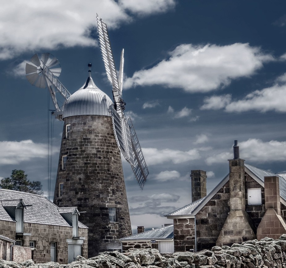 A windmill in the historic town of Oatlands in Tasmania.