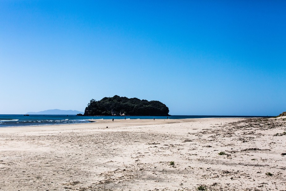 A shot at the beach with Hauturu Island in the distance at Whangamata NZ.
