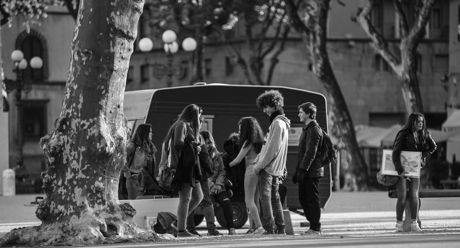 Students in the Italian City of Lucca, waiting to go into school .