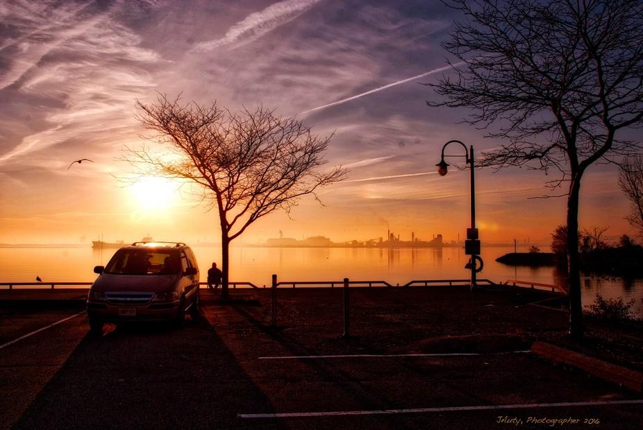 Early morning fisherman. Hamilton harbour at LaSalle Park, Burlington.