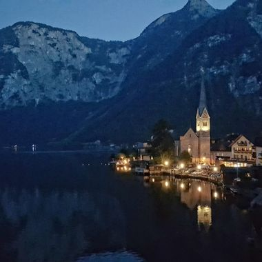 I took this photo while we were on holiday in Hallstatt this year (2016). This is one of the night scenery that I took of the town and the lake.