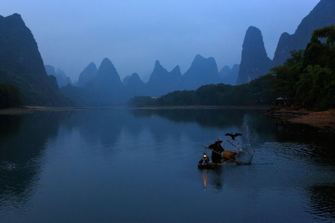 fisherman at work by Duangmon - The Blue Hour Photo Contest