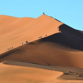 People climb these very high dunes at sunrise.  It's WAY too hot later.  The sand colors are fantastic.