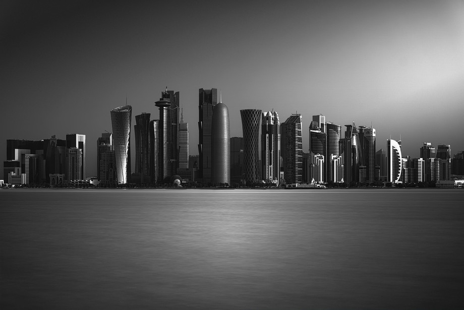 Skyline of the city of Doha, capital of the State of Qatar.