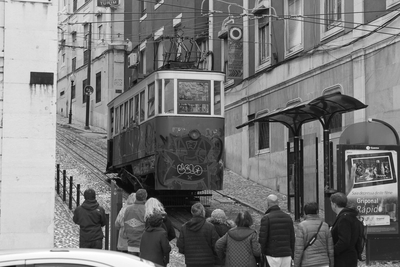 Passengers waiting for a tramway departure in Lisbon, Portugal