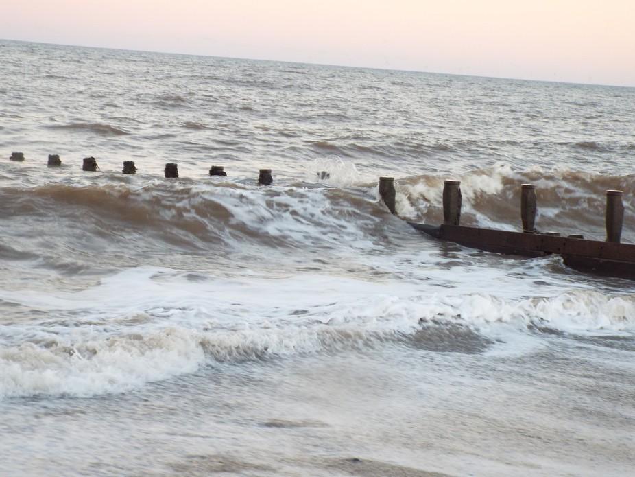wave breaker on hornsea beach
