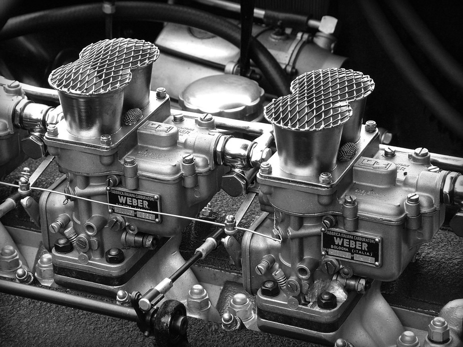 A close up shot of the Weber carbs of Chris Evans' Ferrari 250 California