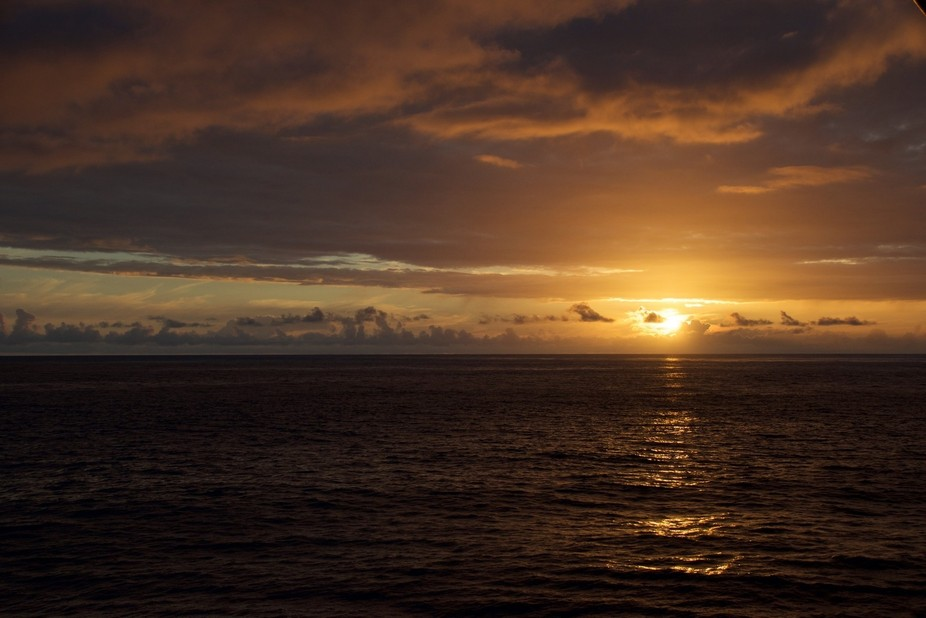 Sunset at Sea on the North Pacific Ocean.