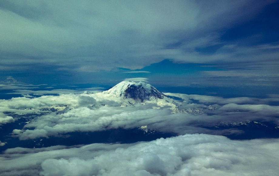A unique view of Mt. St. Helens from above the clouds! I was very fortunate to get the shot!