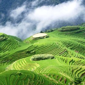 This is Longji rice terraces in China. beautiful place in the mountains