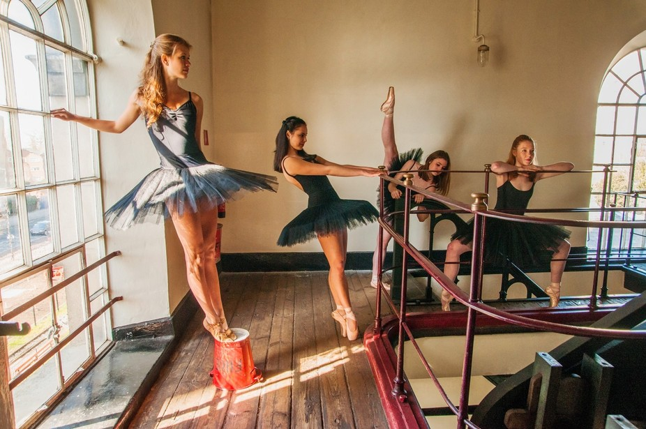 Students from the Rambert School of Ballet and Contemporary Dance inside the Kew Bridge Steam Mus...