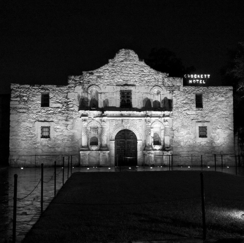 We stayed out pretty late to get a chance to get the Alamo alone. Iconic, patriotic, and somber. ...