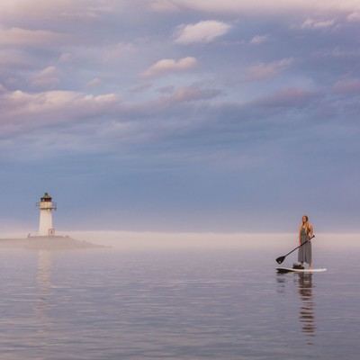 Stand-up paddling in perfect light