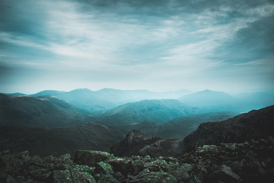 Near the top of Scafell Pike, as the clouds came in and the atmosphere changed from a warm sunny ...