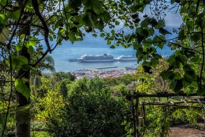 Cruise Ship Ventura from The Botonical Gardens. Madeira.