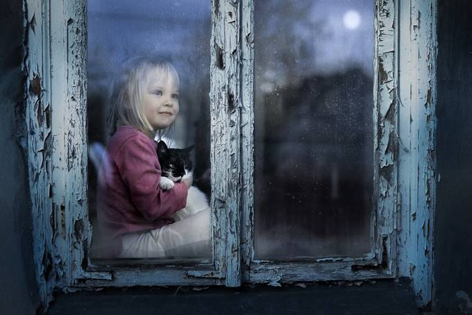 Agata and the cat by Iwona - Kids And Pets Photo Contest