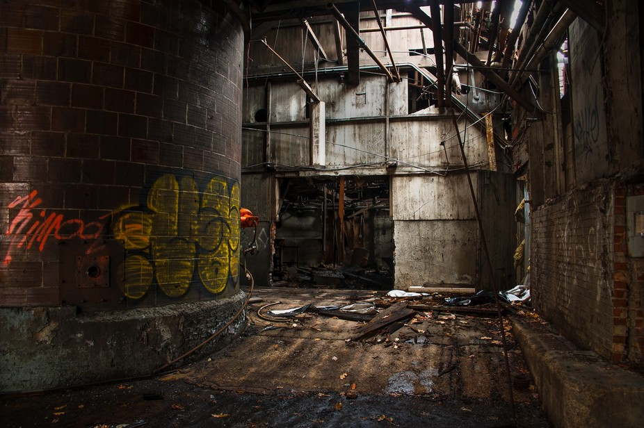 An old factory in the town I grew up in now in ruins.
